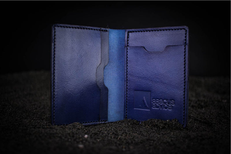 blue leather mike wallet with company branding open
