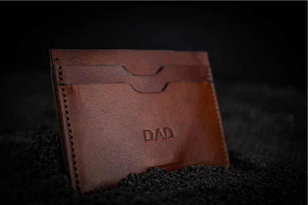 Drew leather wallet engraved dad
