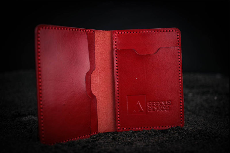 red leather mike wallet with company branding open