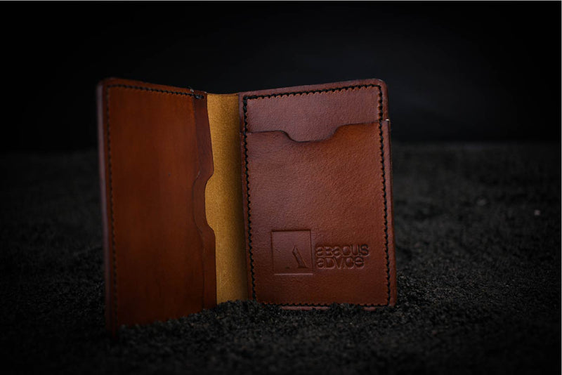 brown leather mike wallet with company branding open