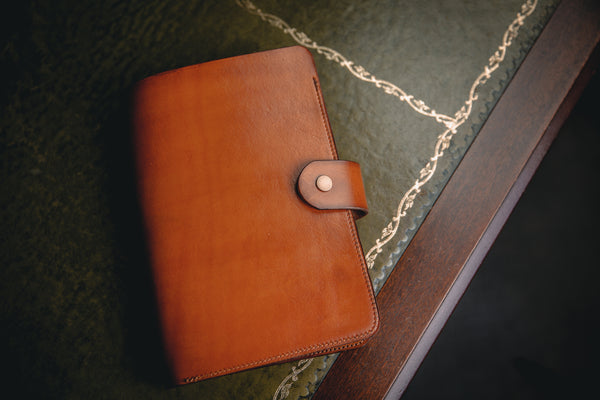 A5 tan leather book cover closed