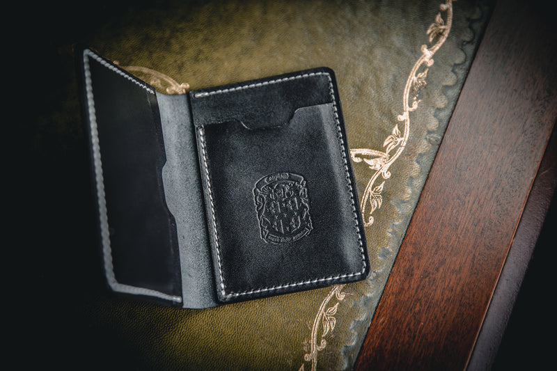 black leather mike wallet with coupland crest