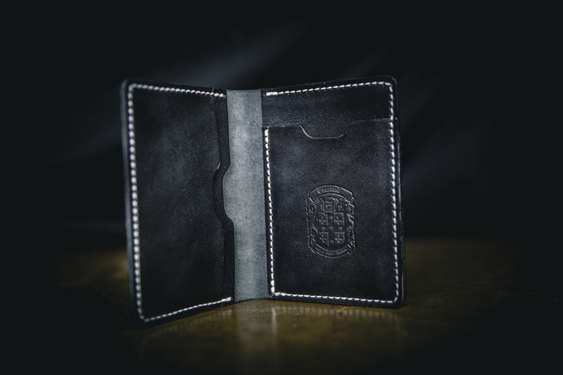 black leather mike wallet open with coupland crest