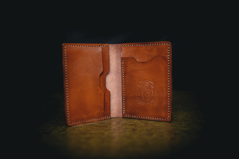 light brown mike leather wallet open with coupland crest