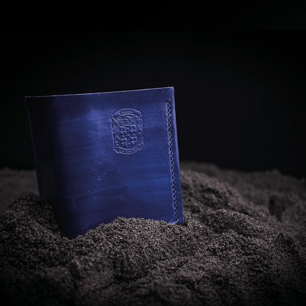 dark blue leather olly wallet with coupland crest
