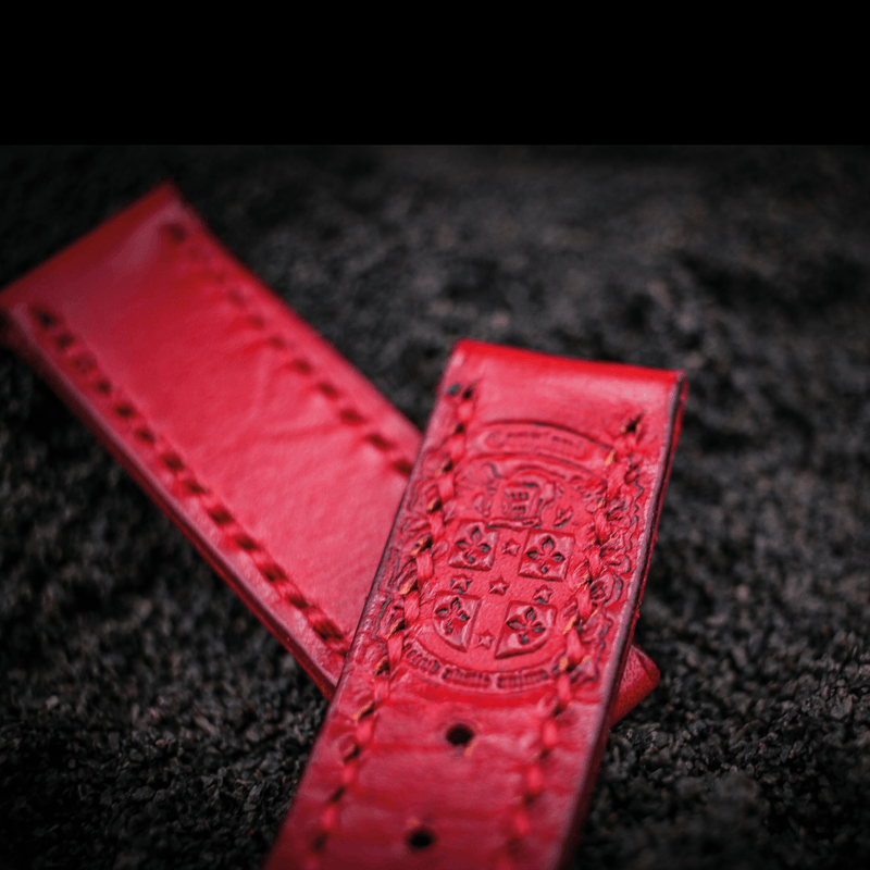 24 mm watch strap red leather with coupland crest