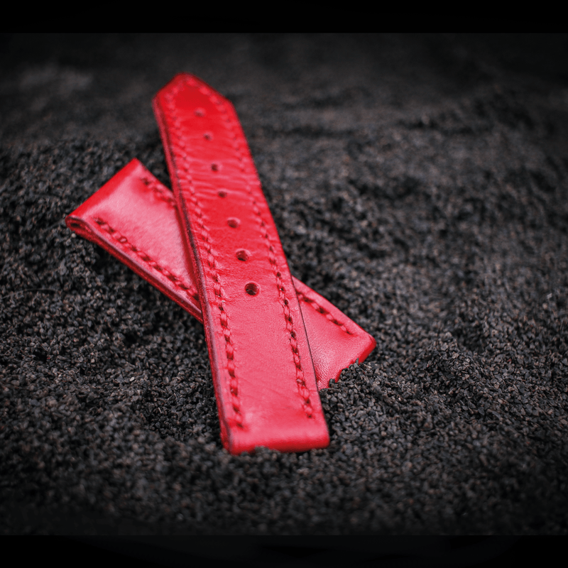 24 mm watch strap red leather