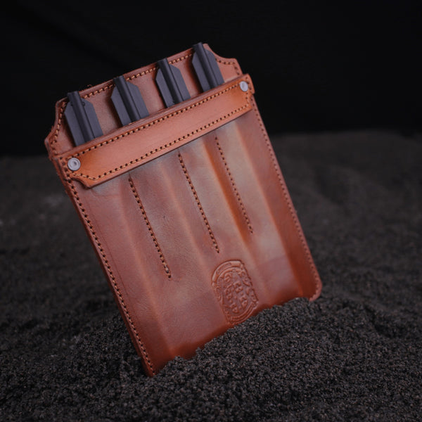 brown leather pistol crossbow bolt pocket protector with coupland crest
