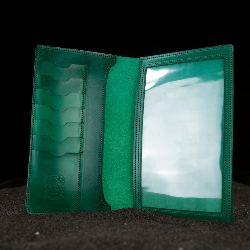 green leather firearms certificate and card holder