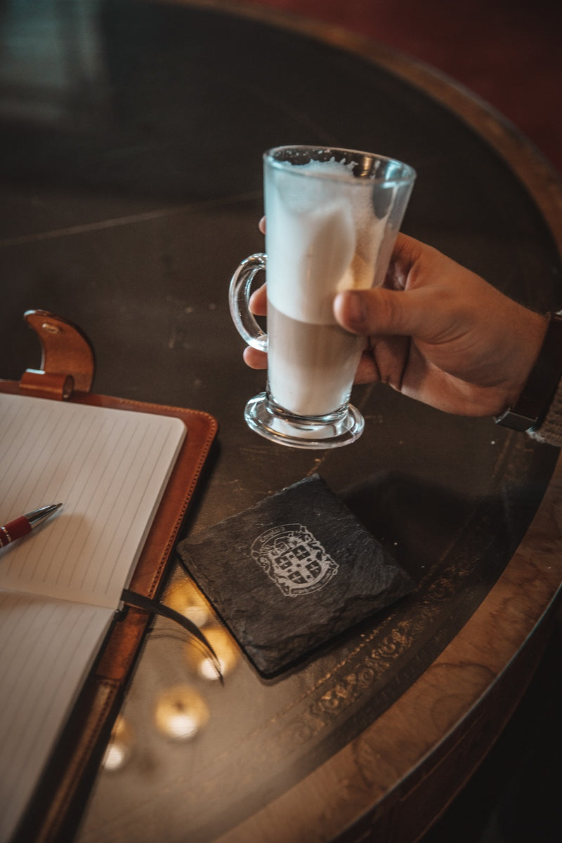 coupland leather slate branded coaster