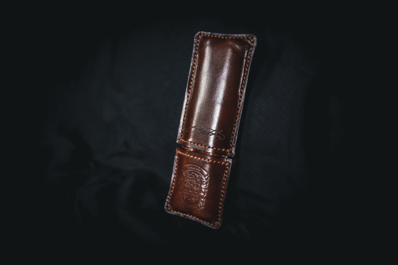 dark brown leather double pen holder