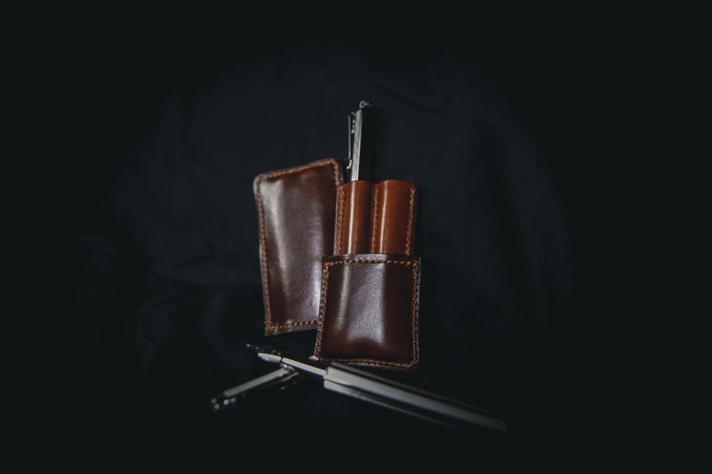 dark brown leather double pen holder open