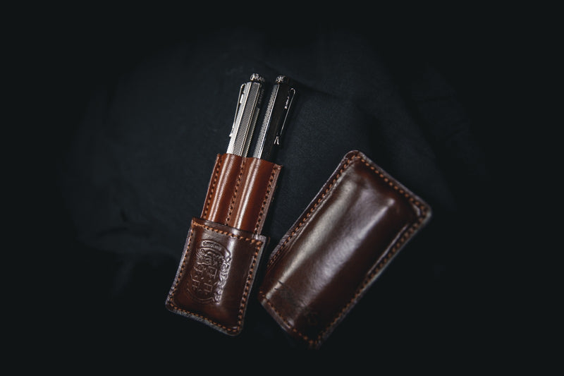 brown leather double pen holder open