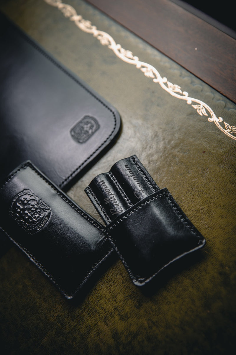 custom leather double pen holder with coupland crest