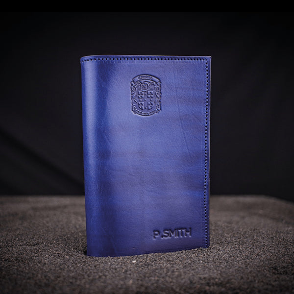 blue engraved leather golf score scorecard holder with coupland crest