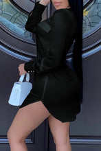 Load image into Gallery viewer, Summer Black Long Sleeve Deep-V Blouse Dress