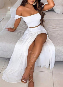 Summer White Ruched Crop Top and Slit Long Skirt 2PC Matching Set