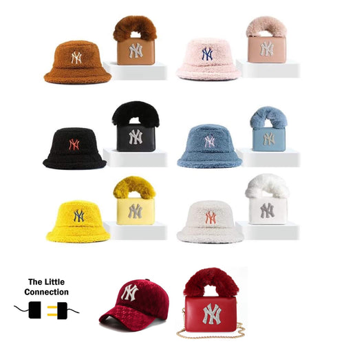 Retail or Wholesale NY Furry Bag and Bucket Hat set