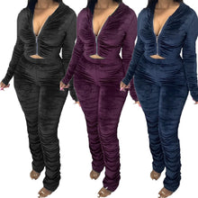 Load image into Gallery viewer, Retail or Wholesale Velvet Stacked leg track suits