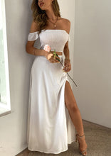 Load image into Gallery viewer, Summer White Ruched Crop Top and Slit Long Skirt 2PC Matching Set