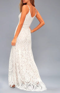 Summer White Lace Strap Mermaid Evening Dress