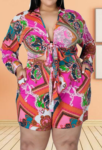 Summer Plus Size Print Long Sleeve Knotted Blouse and Matching Shorts 2PC Set