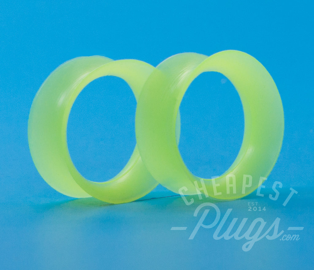 Neon Green Silicone Ear Skins Tunnels