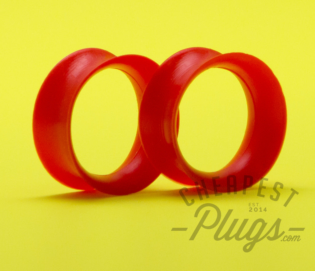 Red Silicone Ear Skins Tunnels