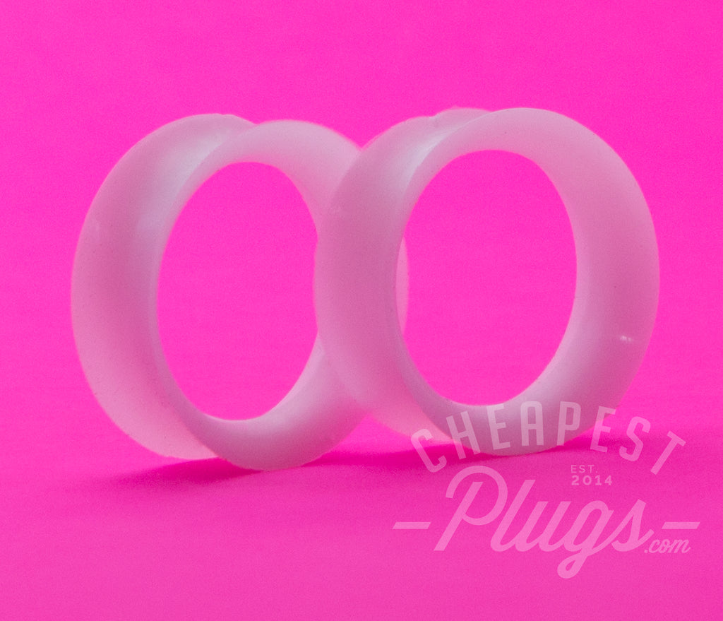 White Silicone Ear Skins Tunnels