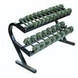 USA 5-50 lb. Iron Hex Dumbbell Set with Rack - Gym Gear Direct