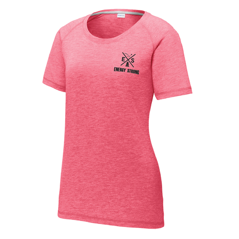 X-Logo - Sport-Tek® Ladies PosiCharge® Tri-Blend Wicking Scoop Neck Raglan Tee