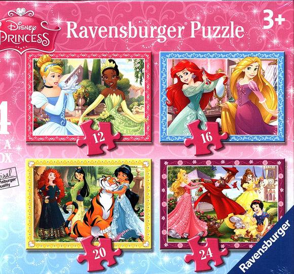 Disney Princess Puzzle 4 in a box (12, 16, 20, 24pc) Jigsaw Puzzles - Ravensburger - Puzzles-and-Games.com