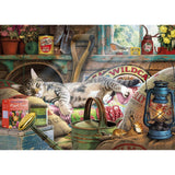 Cat Snoozing in the Shed 1000 Piece Jigsaw Puzzle - Puzzles-and-Games.com