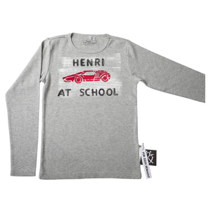 "Shirt ""Auto, Streifen, Name at school"""