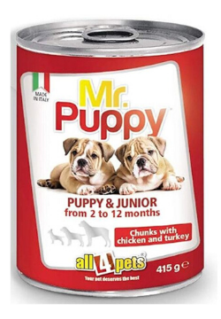 Mr. Puppy Chunks with Chicken and Turkey (415 g) pack of 4