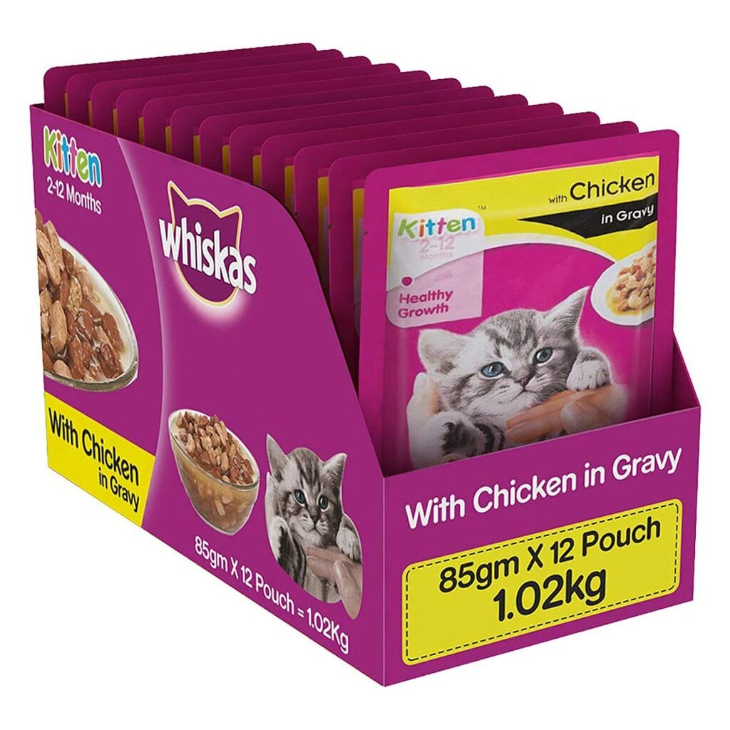 Whiskas Kitten Chicken in Gravy 85G (Pack of 12)