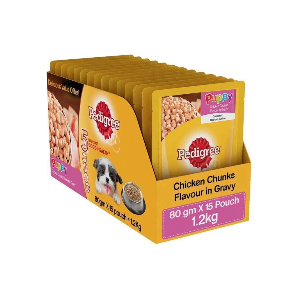 Pedigree Puppy Chicken Chunks 80G (Pack of 15)