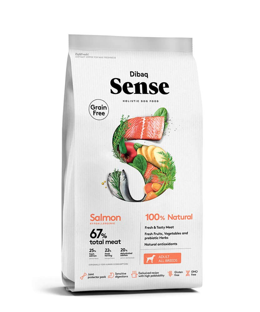 Dibaq Sense Grain Free Salmon Hypoallergenic 100% Natural Adult All Breeds Dog Food 2kg - Tom and Pluto