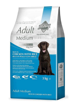 Dibaq Adult Medium Chicken with Rice 100% Natural Dog Food 3kg - Tom and Pluto