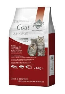 Dibaq Coat & Hairball Chicken with Malt Extract 100% Natural Cat Food 2.5kg - Tom and Pluto