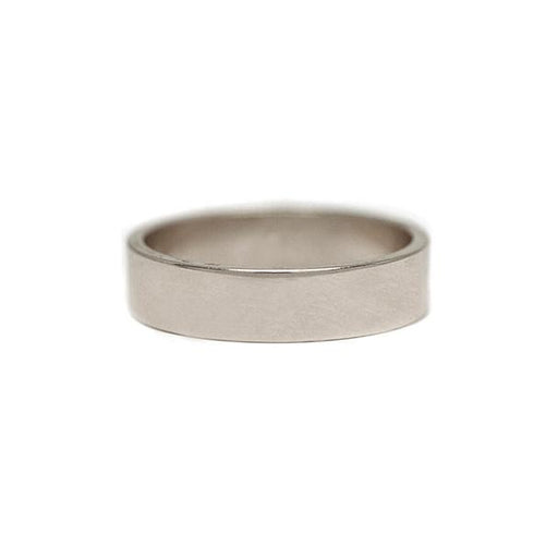 5mm Flat White Gold Men's Wedding Band