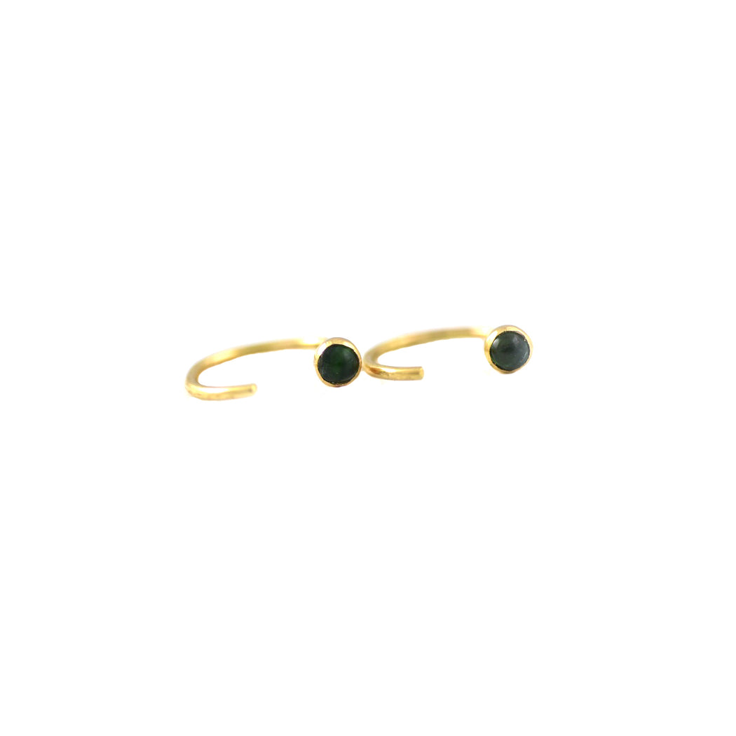 Green Tourmaline Ear Hugger Hoops