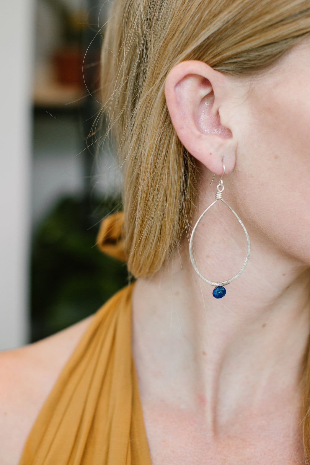 Lapis Drop Stone Hoops