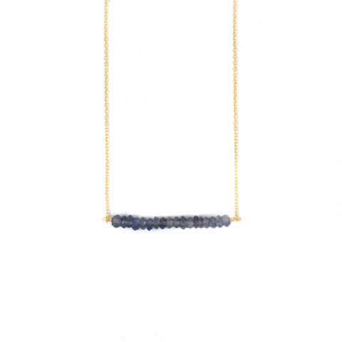 Iolite Beaded Bar Necklace