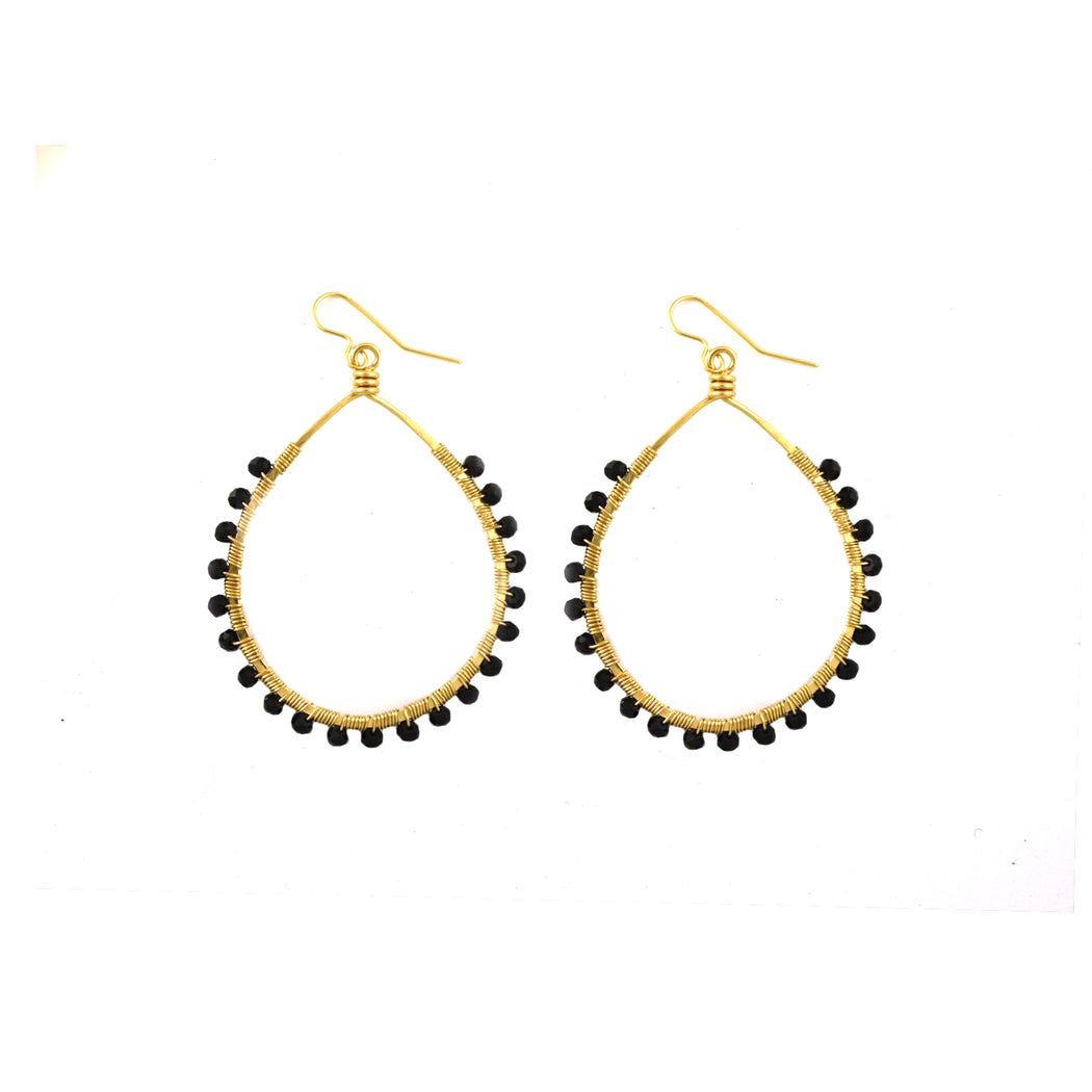 Black Spinel Mini Carlita Hoops