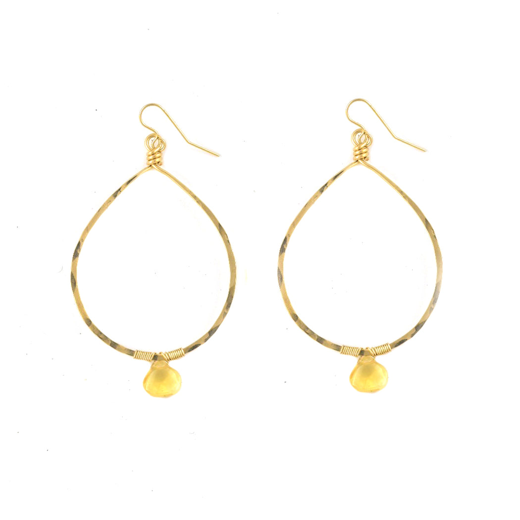Citrine Drop Stone Hoops
