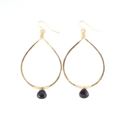 Black Spinel Drop Hoops