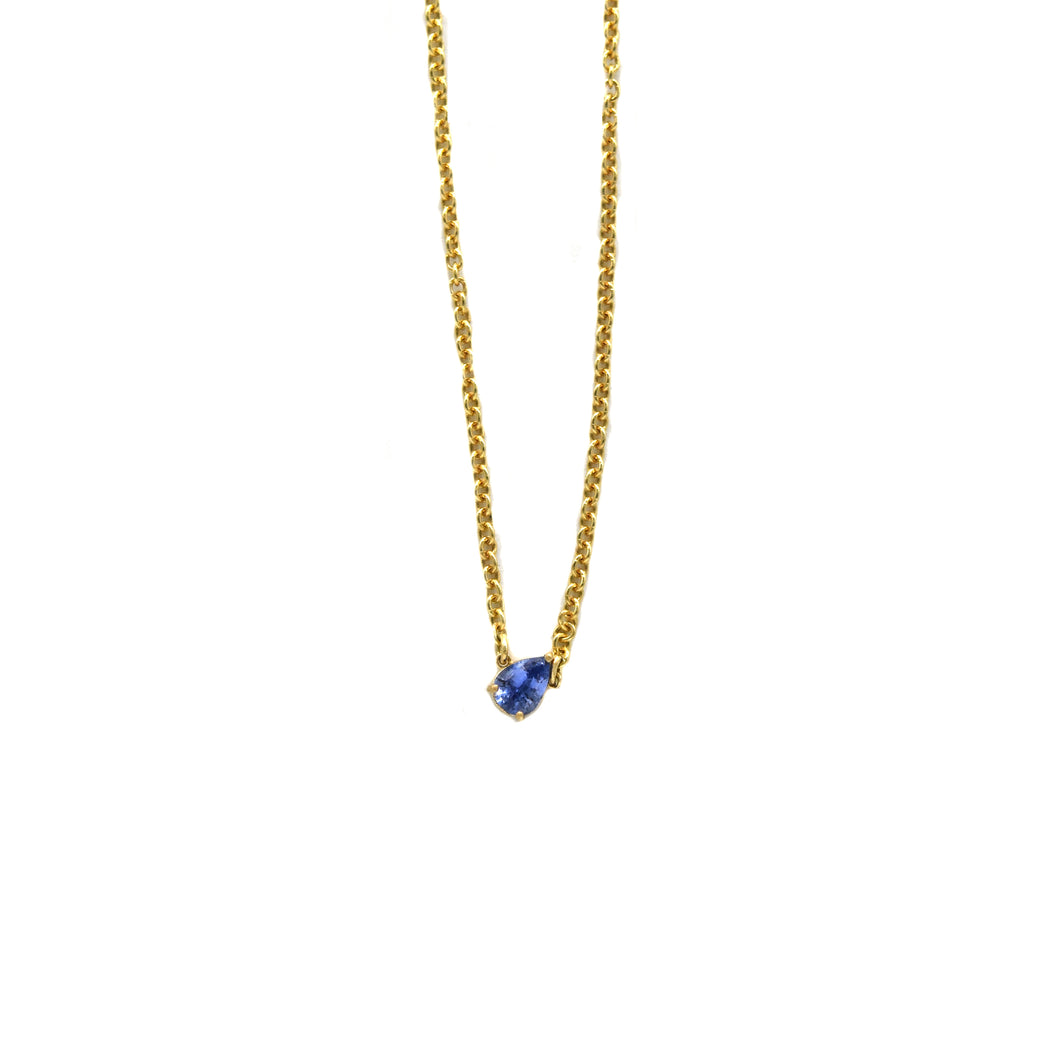 Sapphire Pear Necklace
