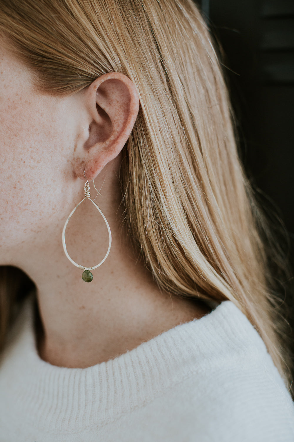 Navy Quartz Drop Stone Hoops