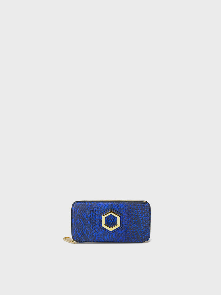 HEXAGON WALLET BIG SNAKE BLU